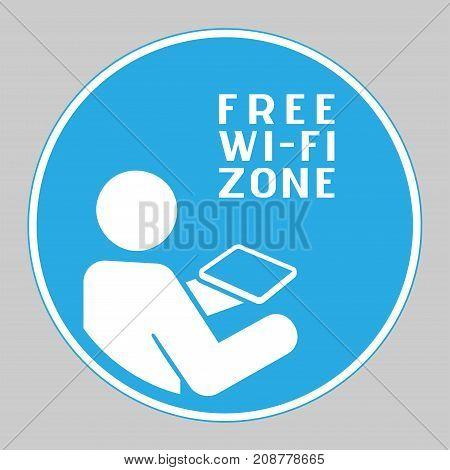Mandatory action sign Free Wi-Fi zone. Free Wi-Fi Round Icon