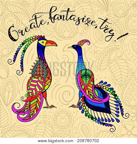 Two decorative fantastic birds with the inscription
