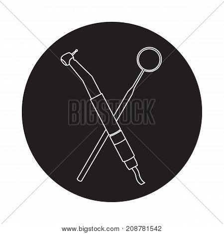 Graphic icon of dental instruments. Dental drill and mirror.