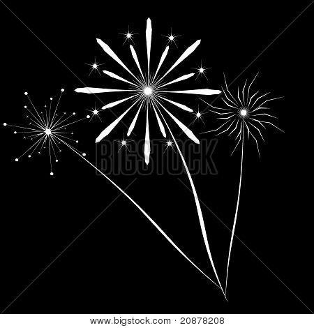 vector fireworks white