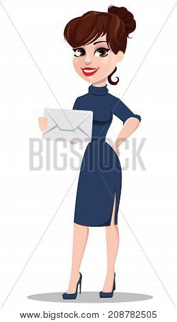Young cartoon businesswoman. Beautiful lady holding white envelope. Fashionable modern business woman. Vector illustration