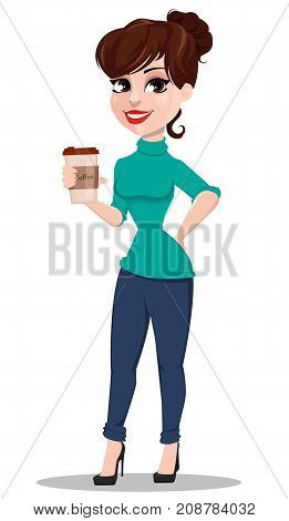 Young cartoon businesswoman. Beautiful lady holding cup of coffee. Business woman in casual clothes. Vector illustration
