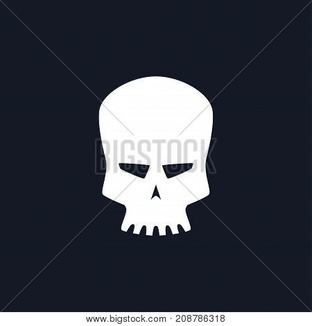 White Robot Skull Isolated Silhouette Skull on Black Background Death's-head Black and White Illustration