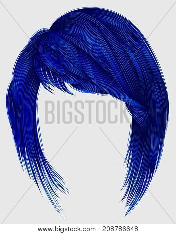 trendy woman hair dark blue color with bangs. medium length .fashion beauty style .