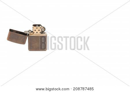 Old Zippo Lighter Opened Isolated White