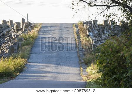 Short steep stretch of road over hurricane barrier