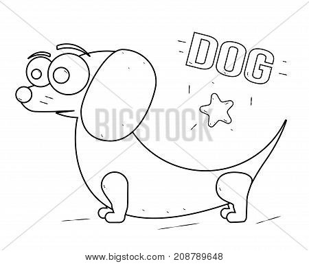 Funny and friendly cartoon dog. Black and white line drawing. Coloring book for kids.