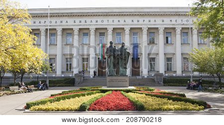 SOFIA BULGARIA - OCTOBER 06 2017: Saints Kirill and Methodius monument and library. Monument built in 1973 library founded in 1978 and building built in 1952.