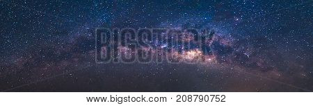 Panorama view universe space shot of milky way galaxy with stars on a night sky background.The Milky Way is the galaxy that contains our Solar System.