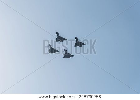 Madrid Spain - October 12 2017: Four Eurofighter jet flying in Spanish National Day Parade. Short after the parade one of them crashed while landing on Albacete air base.