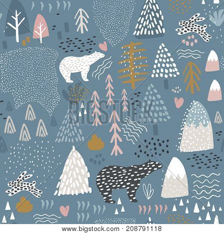Seamless pattern with bunnypolar bear forest elements and hand drawn shapes. Childish texture. Great for fabric textile Vector Illustration