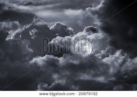 Full Moon Cloudy Sky