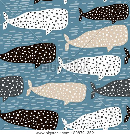 Seamless pattern with whale. Childish texture for fabric textile. Vector background