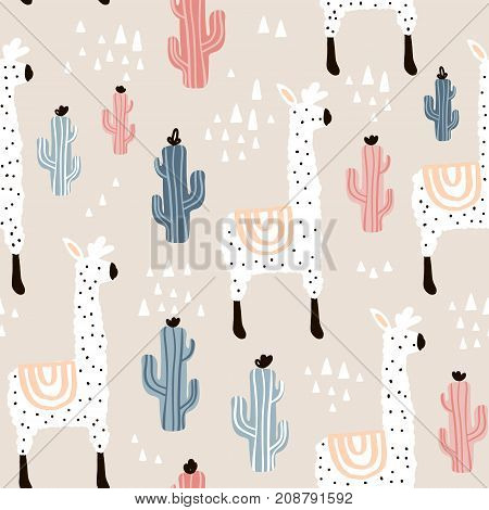 Seamless pattern with lamma cactus and hand drawn elements. Childish texture. Great for fabric textile Vector Illustration