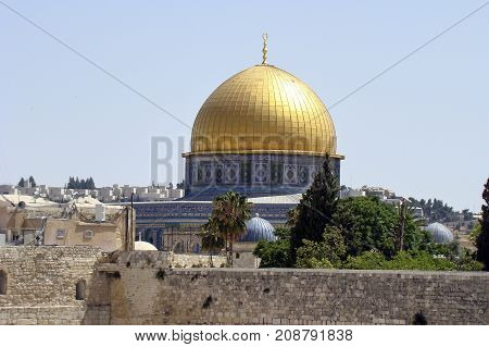 The dome of the Rock in Jerusalem Israel with its dome from Gold
