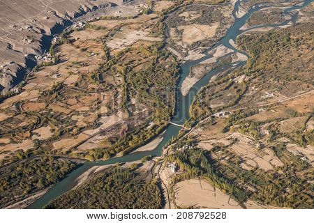 Top view image of Ladakh city and Indus river