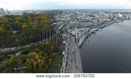 aerial view of Podol in Kiev, Ukraine