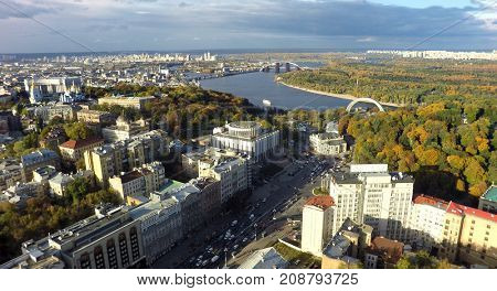 aerial view of Kiev at autumn