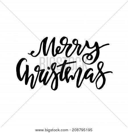 Merry Christmas card with calligraphy. Template for Greetings, Congratulations, Housewarming posters, Invitations, Photo overlays. Vector illustration