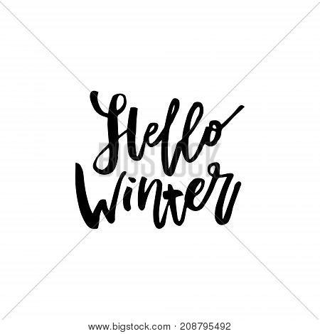 Merry Christmas card with calligraphy Hello Winter. Template for Greetings, Congratulations, Housewarming posters, Invitations, Photo overlays. Vector illustration