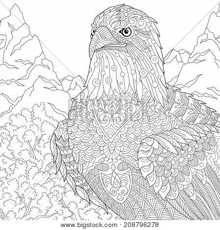 Coloring page of American bald eagle - national symbol of the USA. Freehand sketch drawing for adult antistress coloring book in zentangle style with doodle elements.