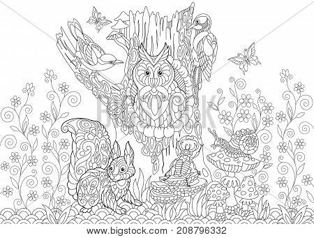 Coloring page of forest animals: owl cuckoo bird woodpecker squirrel snail stag beetle butterflies. Freehand sketch drawing for adult antistress coloring book in zentangle style.