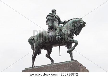 MONTEVIDEO, URUGUAY - OCTOBER 8, 2017: Monument to national hero of Uruguay, Jose Gervasio Artigas.