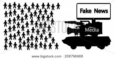 Mass media fake news information war, vector