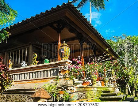 Bali, Indonesia - April 11, 2012: View Of Wooden Furniture, Painting, A Work Art At Tanah Merah Reso