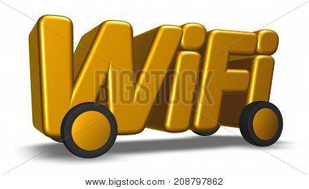 wifi tag on wheels - 3d rendering