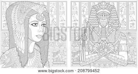 Coloring pages of ancient pharaoh Tutankhamen and queen Cleopatra (Nefertiti). Egyptian hieroglyphs on the background. Freehand sketch drawing for adult antistress colouring book with doodle and zentangle elements.