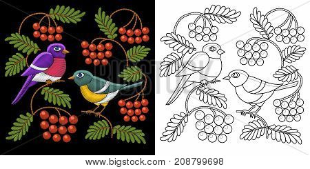 Embroidery design with birds. Two titmouses on tree branches and rowan berries. Collection of embroidered elements for fabric and textile prints patches stickers.