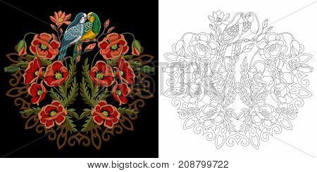 Embroidery design with birds. Budgie parrots and red poppy flowers with filigree mandala. Collection of embroidered elements for fabric and textile prints patches stickers.