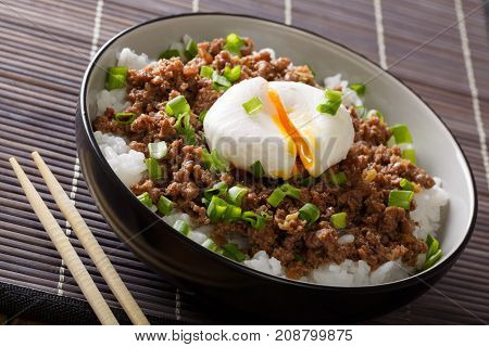 Japanese Dish: Spicy Meat Soboro With Egg Poached And Rice Close-up In A Bowl. Horizontal