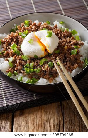 Japanese Spicy Minced Meat Soboro With Egg, Rice And Green Onion Close-up In A Bowl On The Table. Ve