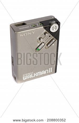 London 10/10/2017:-Retro personal cassette player isolated on white background