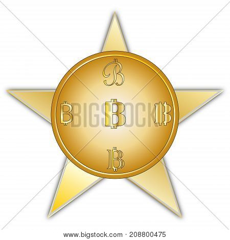 vector image coins bitcoin with a symbol in a different form of yellow color with a gradient on a five-pointed star background with a gray edging on a white background.