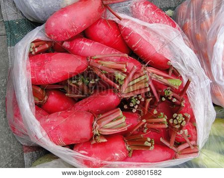Red Radish At Street Market In Lhasa, Tibet