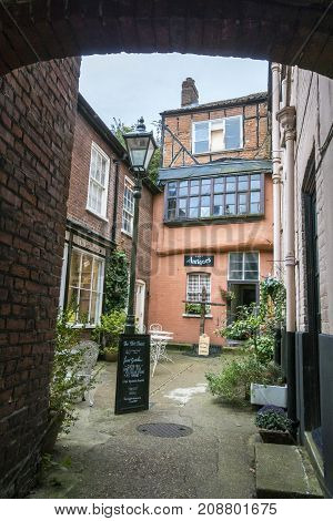 NORWICH, NORFOLK, 4TH OCTOBER 2017 - Ancient buildings in Wrights Court Elm Hill Norwich Norfolk UK