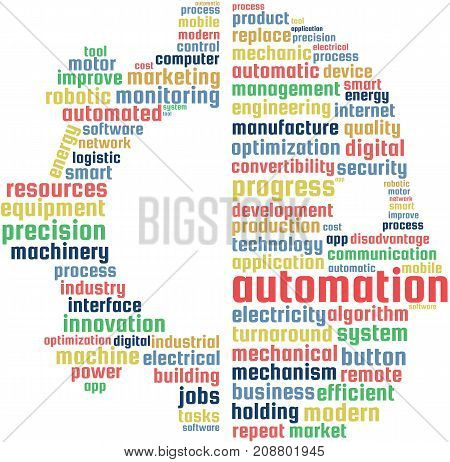 Automation Word Cloud Text Illustration in shape of a gear and human. Industry automation keyword tags isolated vector. Transparent.