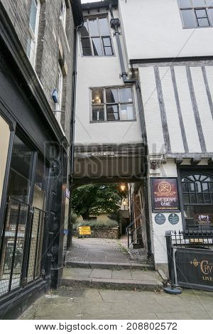 NORWICH, NORFOLK, 4TH OCTOBER 2017 - Ancient English buildings in Tombland Alley Norwich Norfolk UK