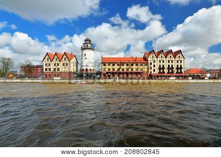 KALININGRAD RUSSIA - 22 APRIL 2017: The fishing village-the cultural and ethnographic complex the tourist attraction of the city. Kaliningrad City Symbol