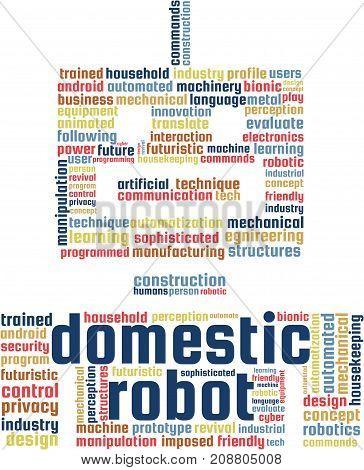 Domestic Robot Word Cloud Text Illustration. Robotics keyword tags isolated vector. Transparent.