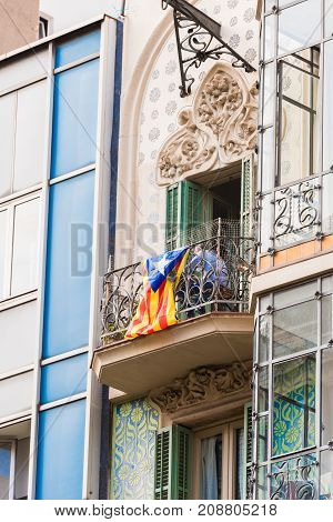View Of The Balcony With The Flag. The Referendum On Independence, Barcelona, Catalonia, Spain. Clos