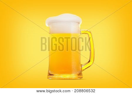 Mug pint of beer close-up with froth over yellow background