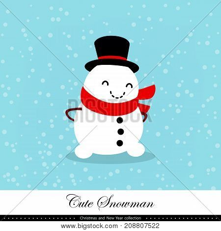 Playful snowman. Winter Christmas and New Year illustration. Element of the collection. Good for congratulation card banner flayer leaflet poster. Vector illustration