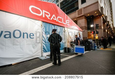 SAN FRANCISCO CA USA - SEPT 22 2010: The JavaOne conference zone at Taylor Street. The road was occupied by large pavilion of Oracle OpenWorld on Sept 22 2010 in San Francisco CA.