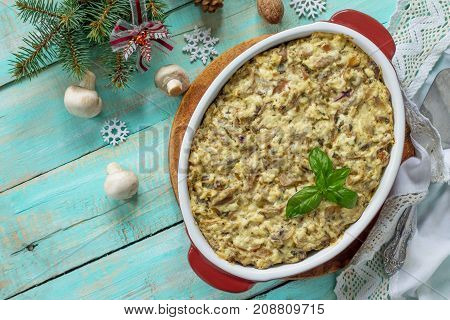 Baked Potatoes With Mushrooms And Cheese On A Festive Christmas Table. Top View.
