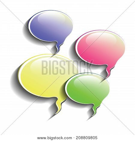 Set of Colored Speech Bubbles Icons Isolated on White Background