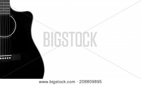 Musical instrument - Silhouette of a black acoustic guitar with cutaway on a white background.